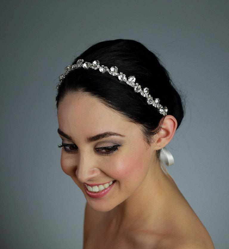 Wedding - Bridal Rhinestone Headband Attached to a Pure Silk Ribbon - Ships in 3-5 Business Days