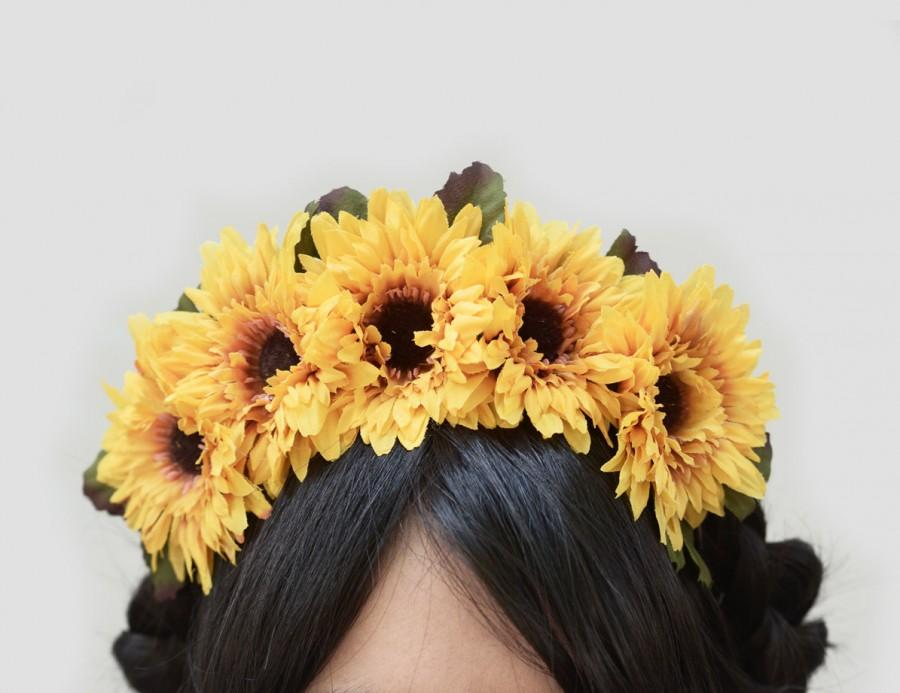 Wedding - Sunflower Headband - Day of Dead Sunflower Headpiece, Sunflower Headband, Dia de Los Muertos, Frida Crown, Sunflowers, Sunflower Headband