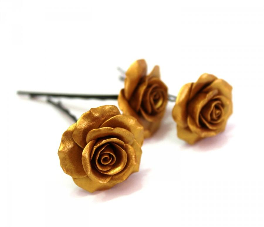 Свадьба - Gold flower clips, Golden clips, Bridal hair clips, Wedding accessory, Rose bobby pins,Bridal Accessories Set