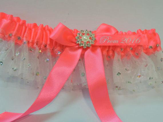 Mariage - Prom Garter, Neon Pink Prom Garter, Custom Neon Prom Garter, Prom Garters, Garters, Weddings