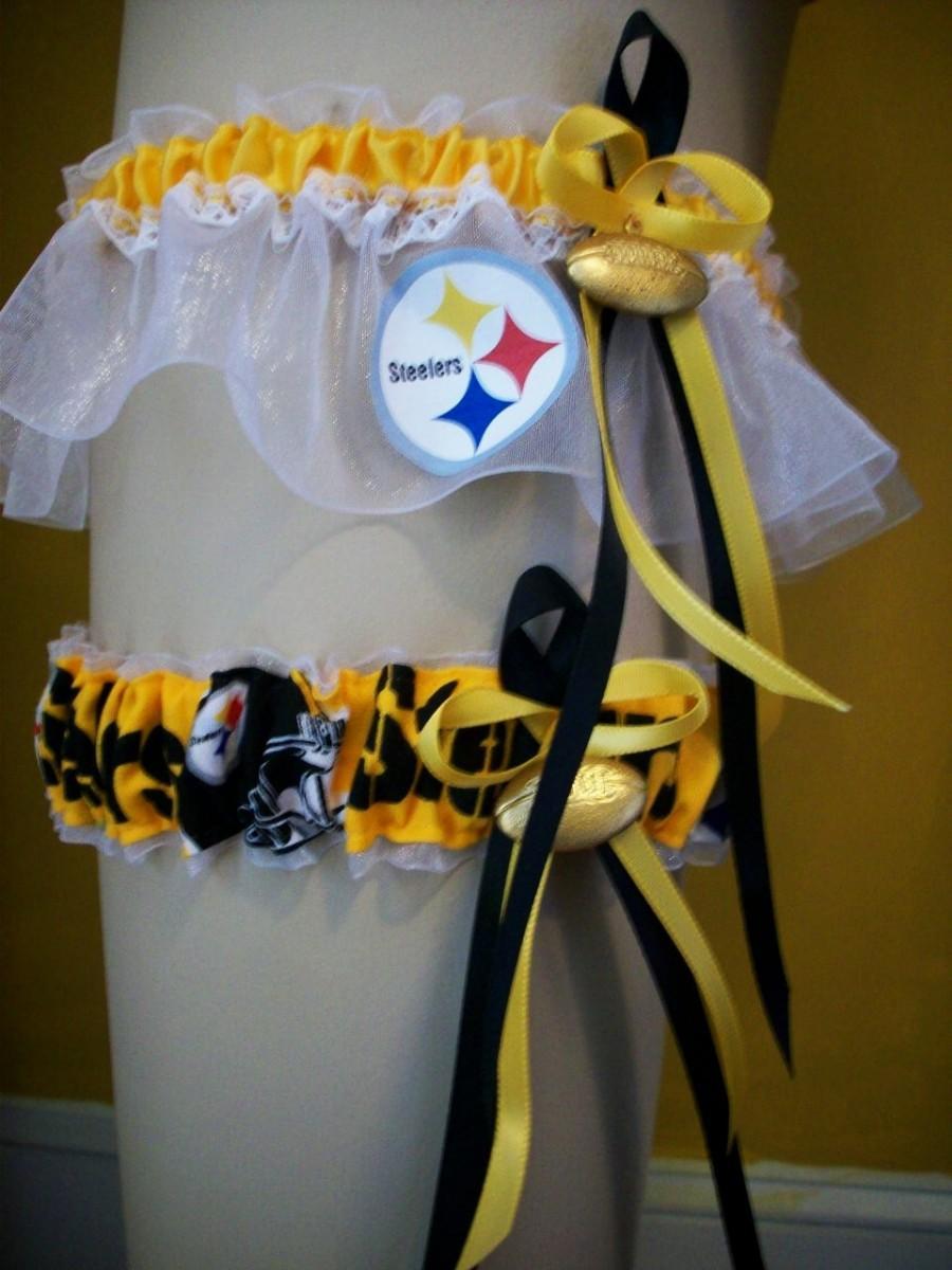Hochzeit - Pittsburgh Steelers  Wedding Garter Set