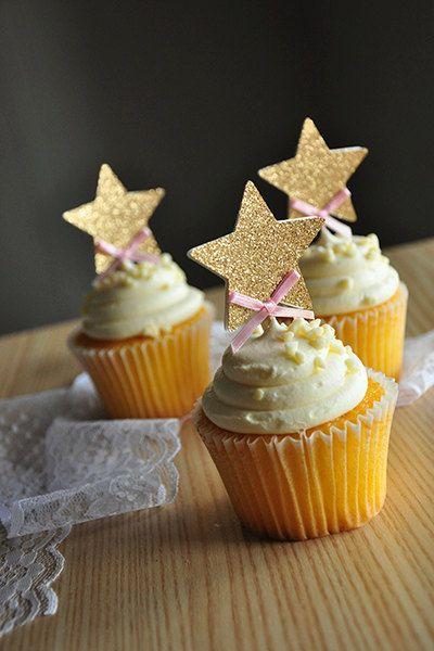 Pink And Gold Birthday Decorations Ships In 2 5 Business Days Glitter Star Cupcake Toppers 12CT