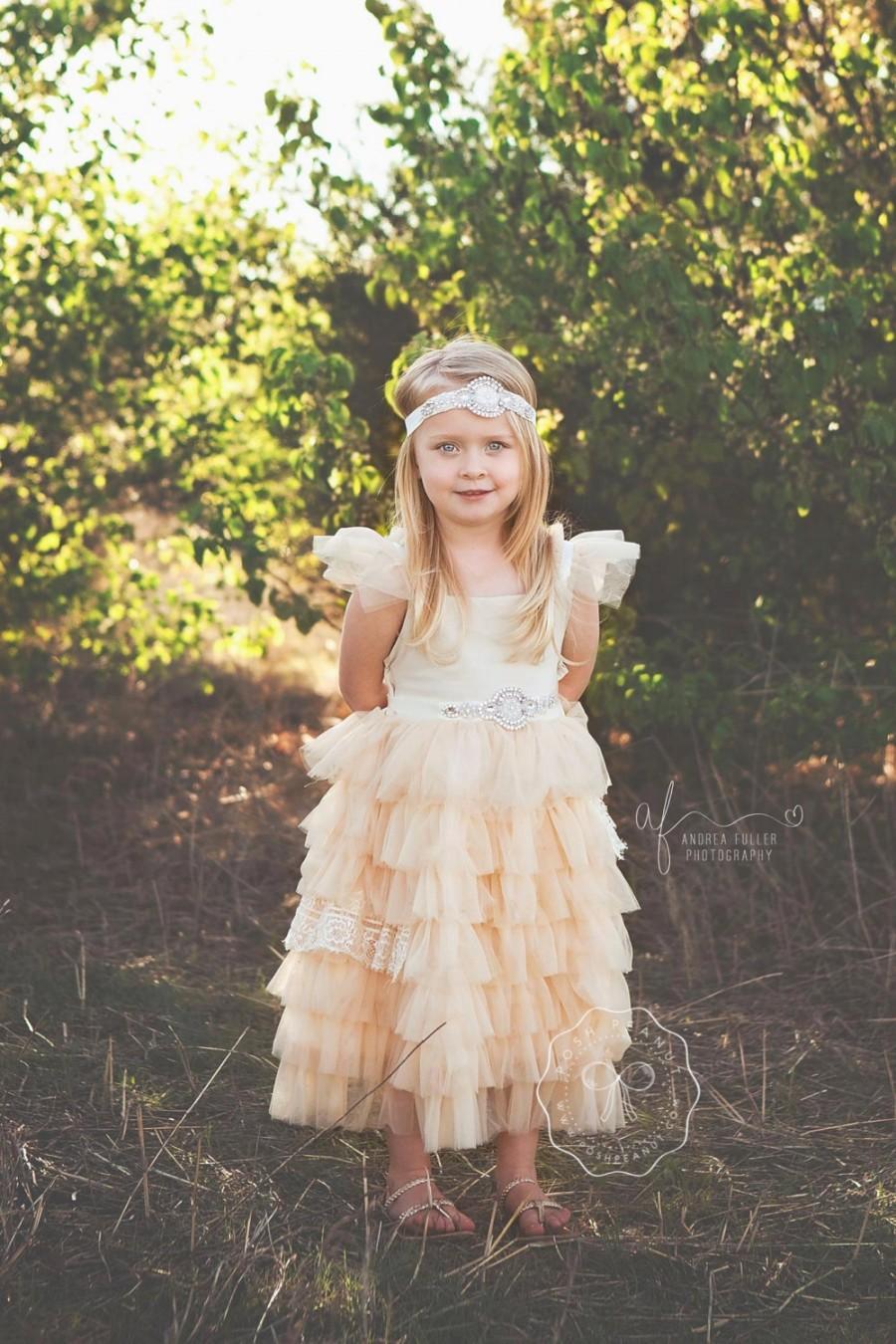 2e1329266 flower girl dress, flower girl dresses, champagne lace flower girl dress,  baby dress, baby dress, rustic flower girl, country flower girl. 45. Wedding  ...