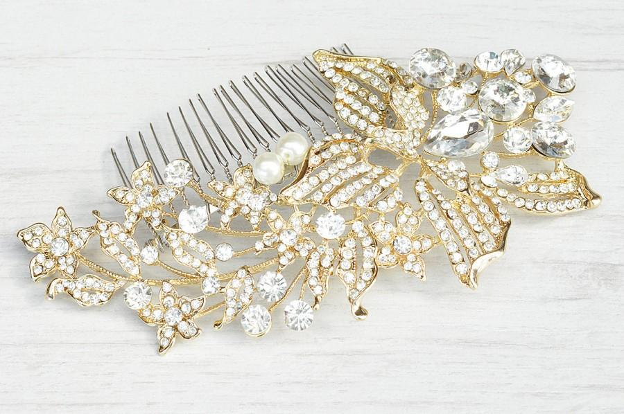 Boda - Vintage style floral weddings accessory. Gold flower bouquet hair comb. Gold crystals bridal hair comb. Wedding gold crystals comb.