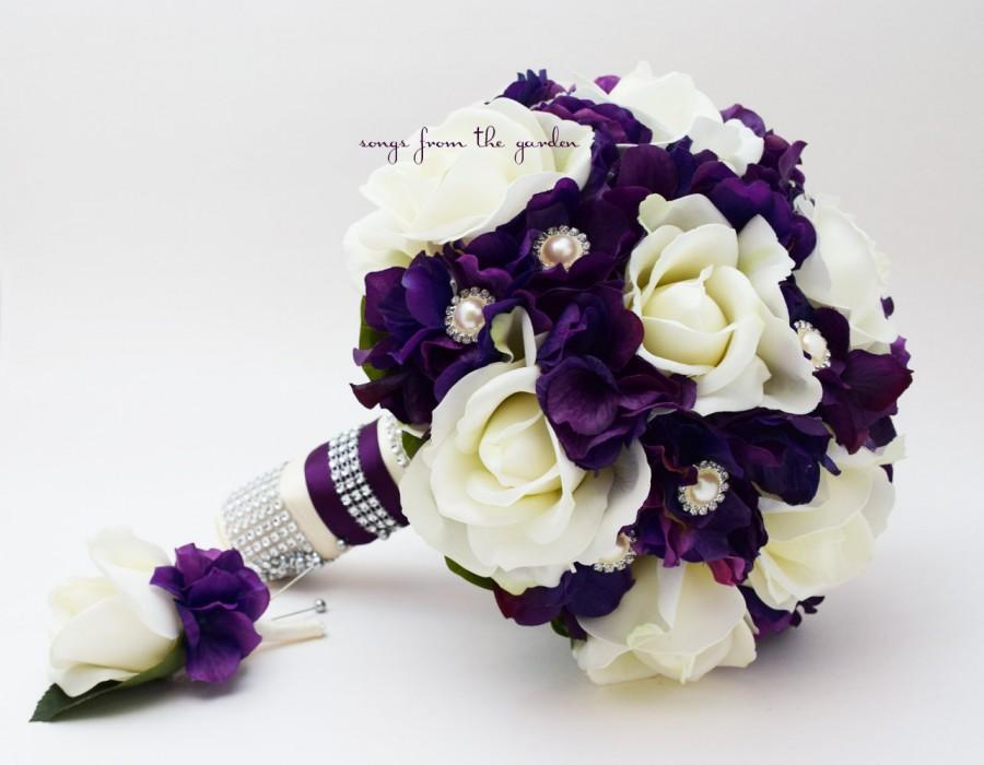 Purple white real touch rose hydrangea wedding bouquet real touch purple white real touch rose hydrangea wedding bouquet real touch white roses purple hydrangea rhinestone pearl accents mightylinksfo