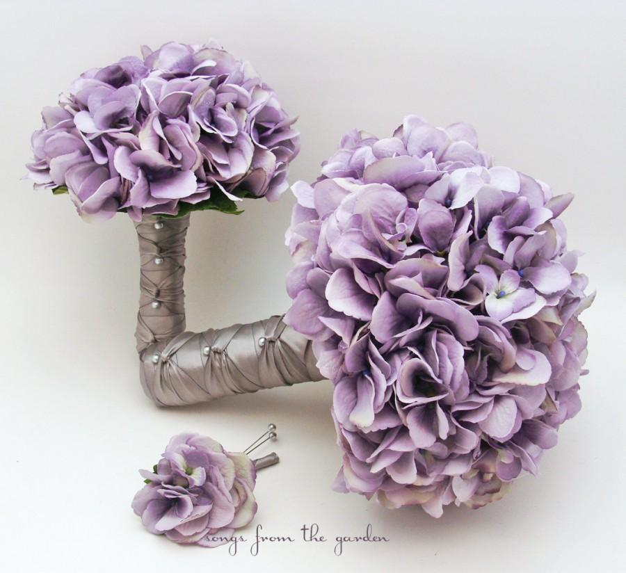 Bridal bouquet lavender silk hydrangea groom boutonniere toss bridal bouquet lavender silk hydrangea groom boutonniere toss bouquet silk flower bridal bouquet hydrangea antique lavender silver grey mightylinksfo