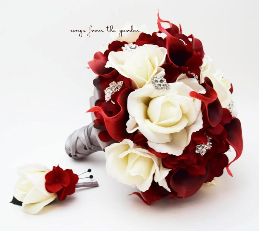 White Roses Deep Red Calla Lilies Rhinestones Bridal Bouquet Grooms Boutonniere And Wedding