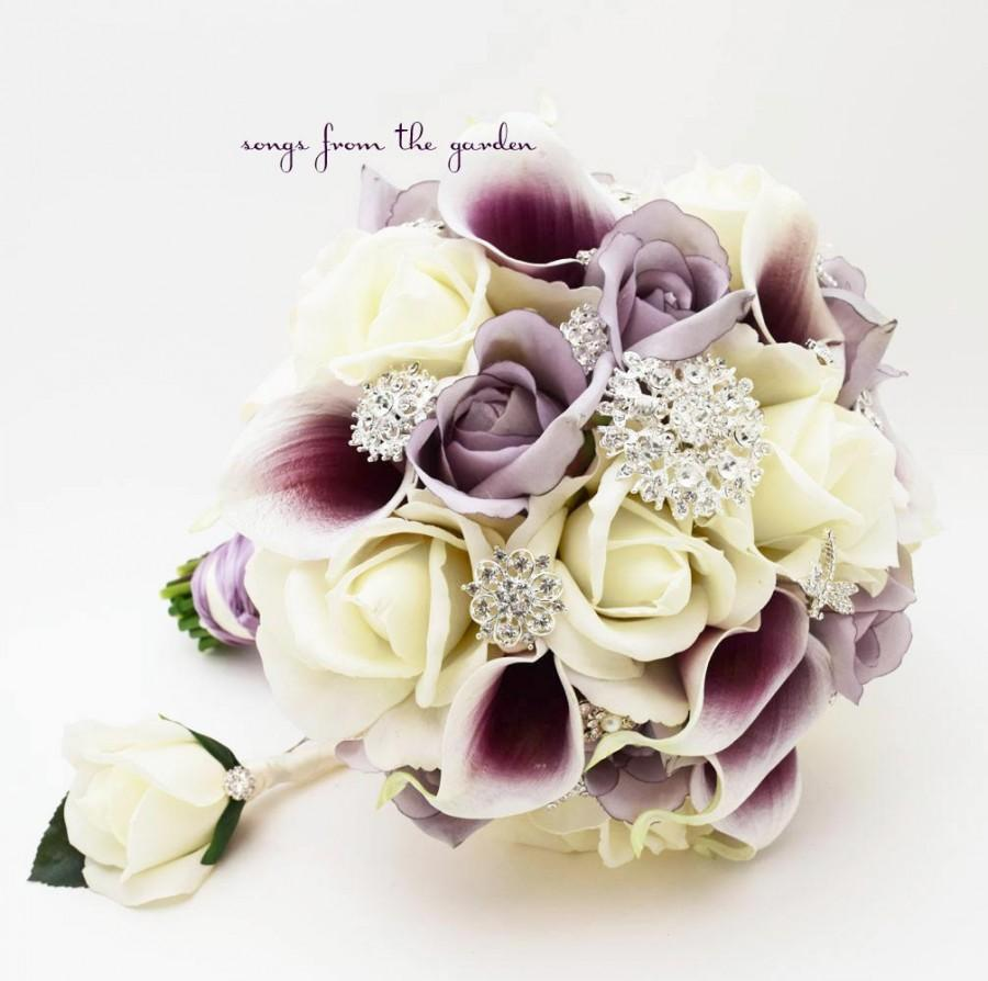 Lavender Purple White Brooches & Blooms Bridal Bouquet Silk Flower ...