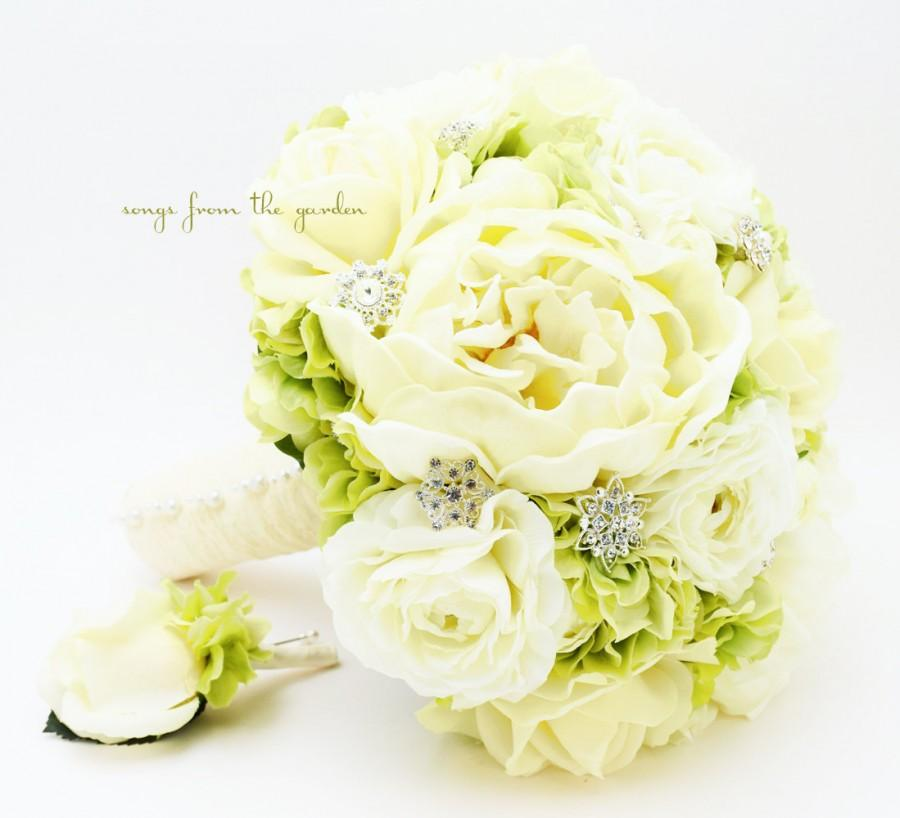 Wedding - Bridal Bouquet with Real Touch Peonies Real Touch Roses Hydrangea Silk Ranunculus in Green and Ivory with Rhinestones