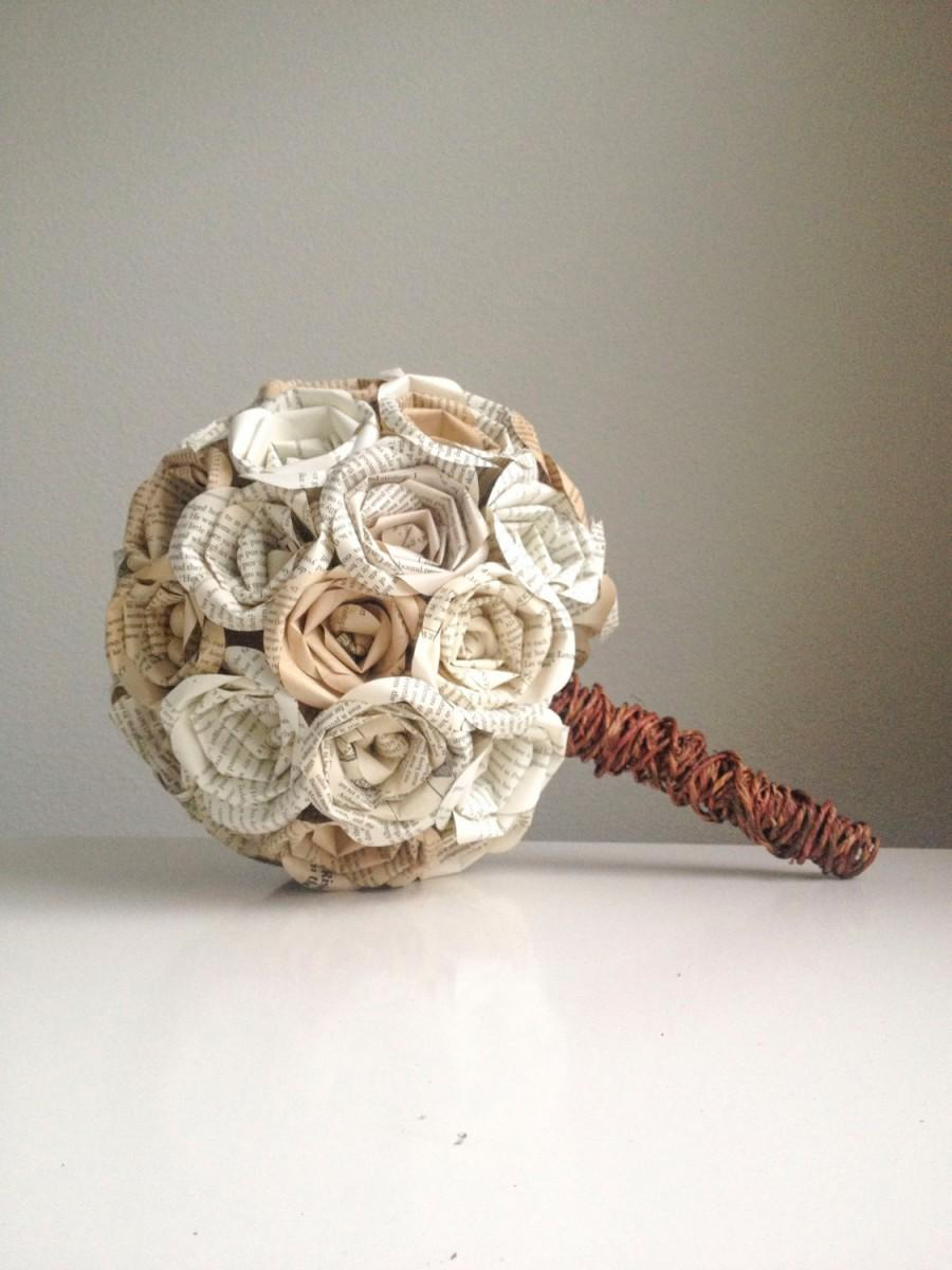 Wedding - Pride and Prejudice Rustic Themed Round Book Page Bouquet