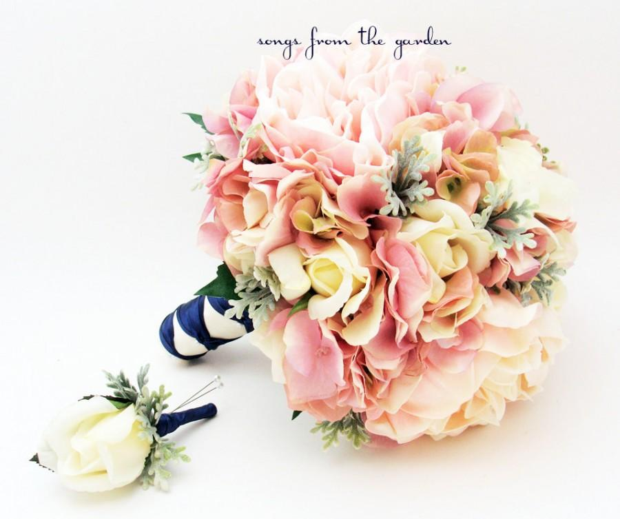 Wedding - Bridal Bouquet Peonies Roses Hydrangea Pink Ivory Wedding Bouquet Groom Boutonniere Real Touch Roses Peonies Silk Hydrangea Dusty Miller