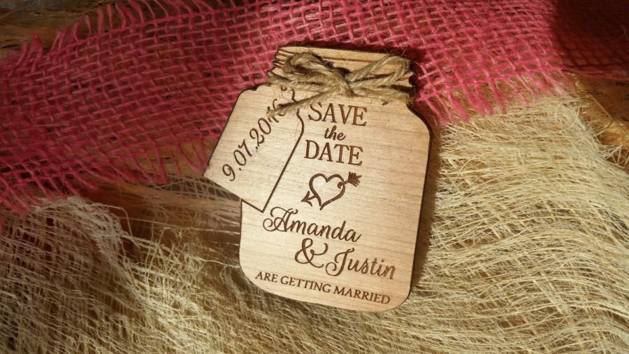 Mason Jar Save The Date Magnets Magnet Custom Wedding Wooden Rustic