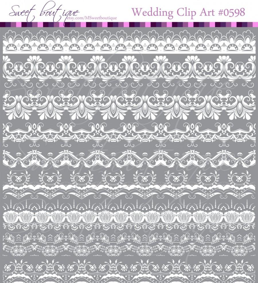 زفاف - WHITE 9 Border Lace Clipart Digital Frames Scrapbooking Borders Clipart Clip Art Decorative Supplies Embellishment Classic 0598