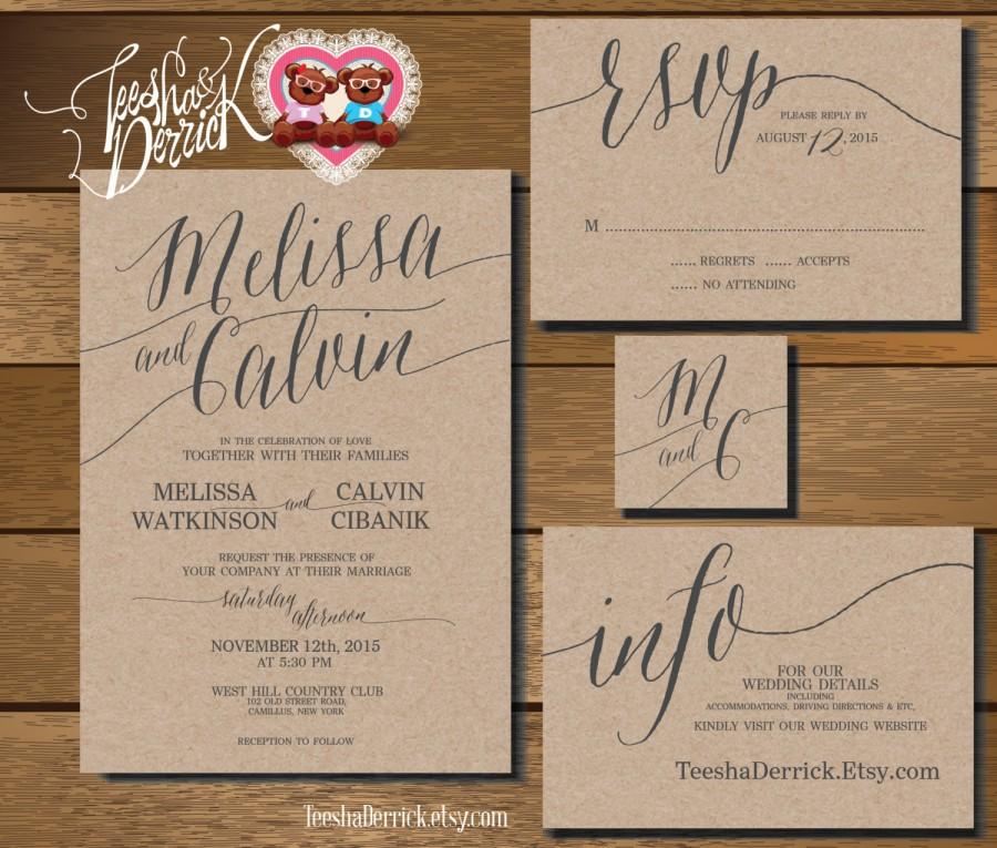Hochzeit - Printable Wedding Invitation Suite (w0226), consists of invitation, RSVP, monogram and info design in hand lettered typography theme.