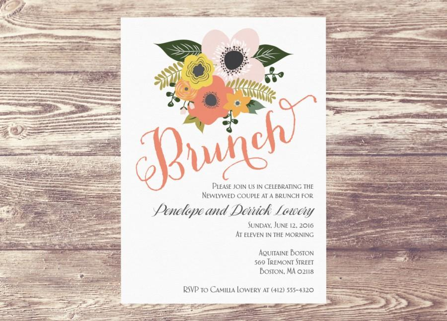 printed brunch invitation brunch invite bridal shower invitation floral bridal shower baby shower champagne brunch wedding shower