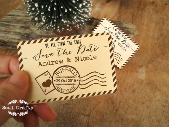 Save The Date Wooden Postcard Stamps Fridge Magnet Engraved Rustic