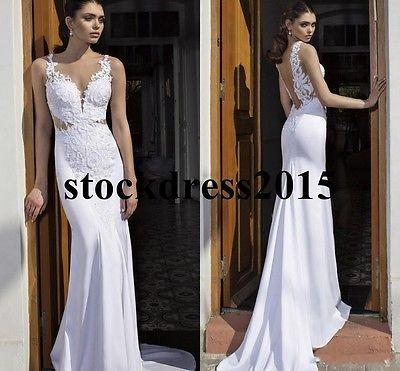 Hochzeit - Sexy Backless Mermaid Beach Wedding Dress Spaghetti Bridal Gown Custom 2 4 6 8