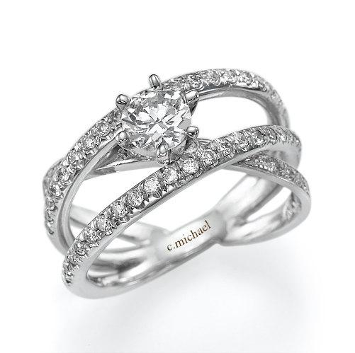 Mariage - Carte Diamond Ring, Engagement Ring, Infinity Band, Engagement Band, Diamond Ring, 14k White gold ring, Prong Ring, Art Ring, Wedding Ring