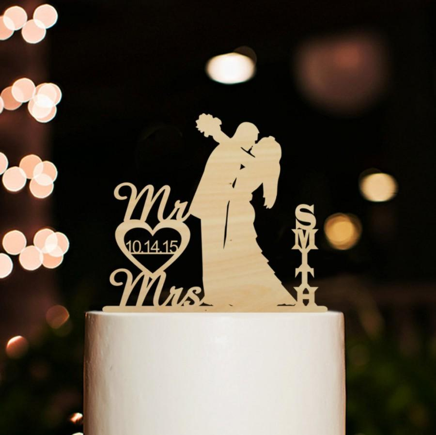Wedding - Personalized Mr and Mrs Last Name Cake Topper-Rustic Weding Cake Topper-Silhouette Bride and Groom Kiss Cake Topper with Date Cake Topper