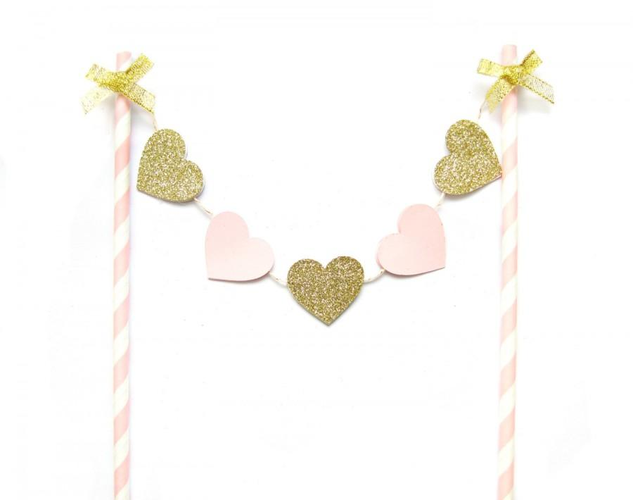 Mariage - Pink & Gold Heart Bunting Cake Topper - First Birthday Cake Topper, 1st Birthday, Cake Bunting, birthday, baby shower, tea party