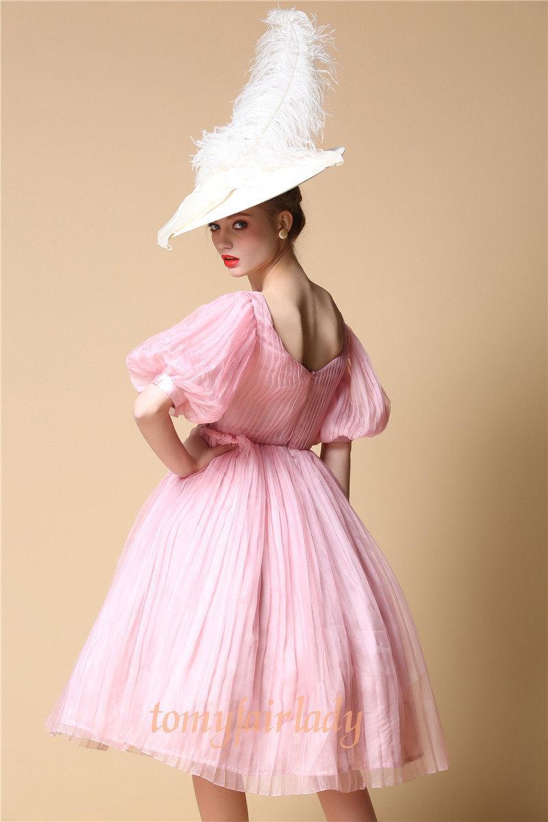 Pastel Pink Pure Silk Mid Century Short Wedding Gown Puff Bishop Sleeve Pleated Rose Garden Wedding Dress Light Pink V Back Party Prom Dress 2505604 Weddbook,Blush Pink Beach Wedding Dresses