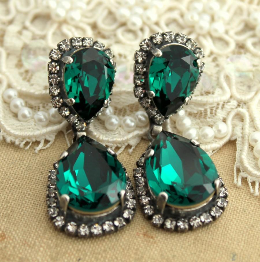 Emerald Chandelier Earrings Statement Bridal Silver Swarovski