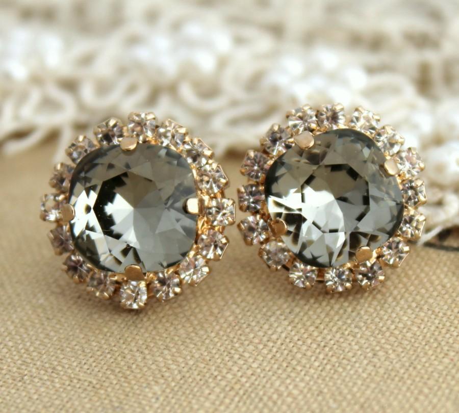 Mariage - Gray Stud Earrings,Swarovski Black diamond Earrings,Smoky Gray Crystal Rhinestone stud earring,Stud Earrings,Bridesmaids gift,Gray Earrings