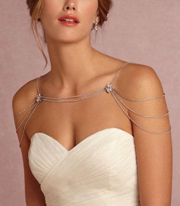 Bridal Rhinestone Necklace Crystal Necklace Shoulder Necklace