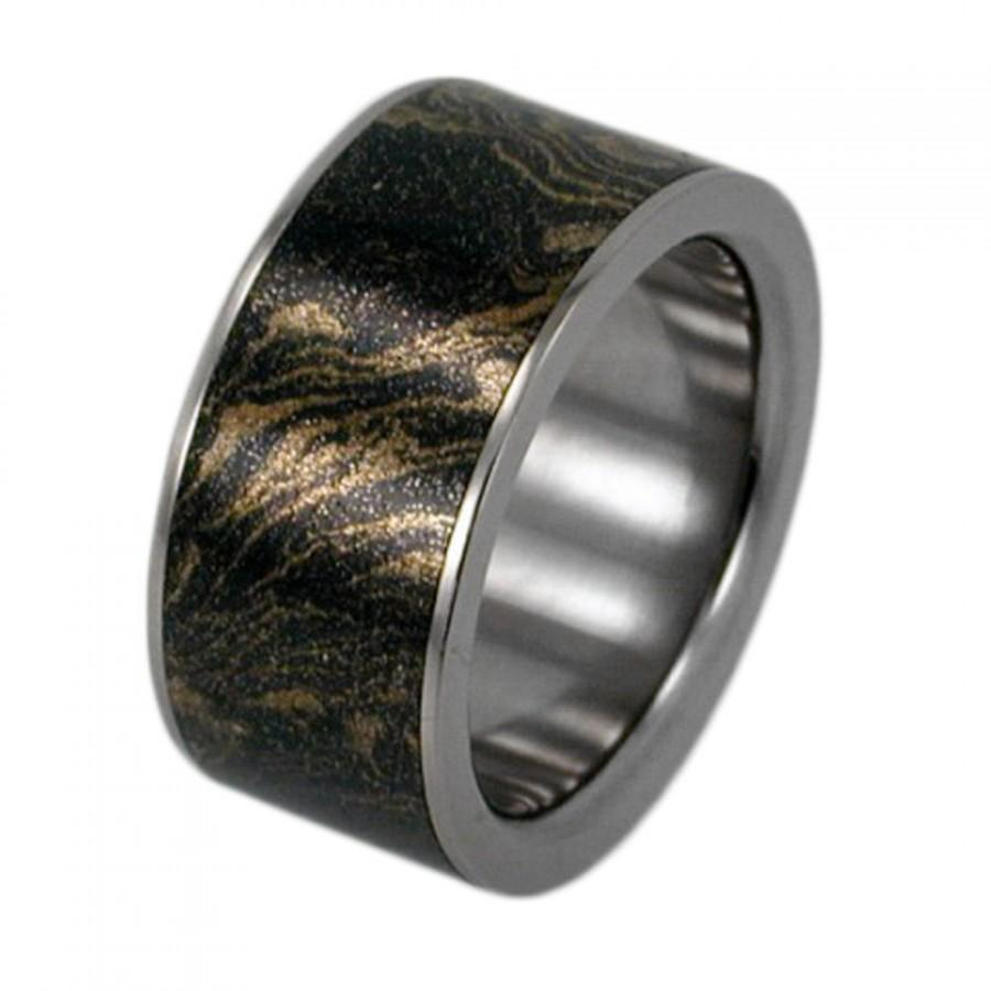 Mariage - Special Listing, Titanium Ring, Black and Gold Mokume Band