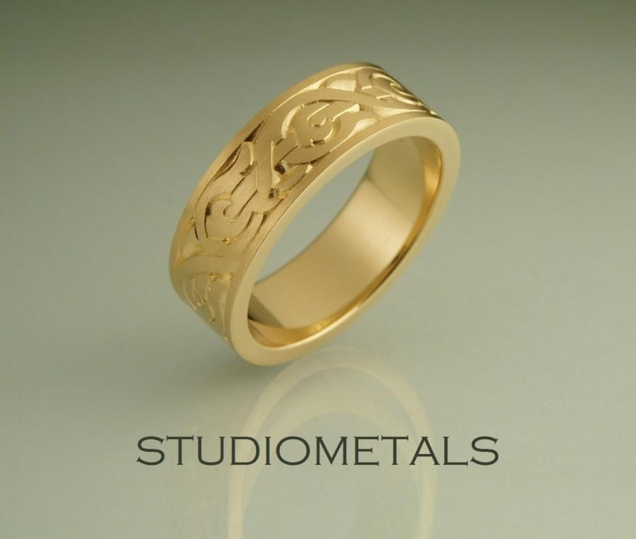 18K Gold Nordic Mens Wedding Band Engraved Ring Mens Wedding Ring