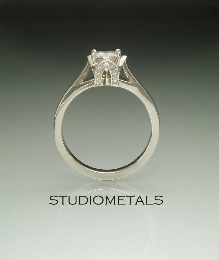 Hochzeit - Lotus Engagement Ring, Princess Cut Diamond, Diamond Engagement Ring, White Gold Princess Ring, R153