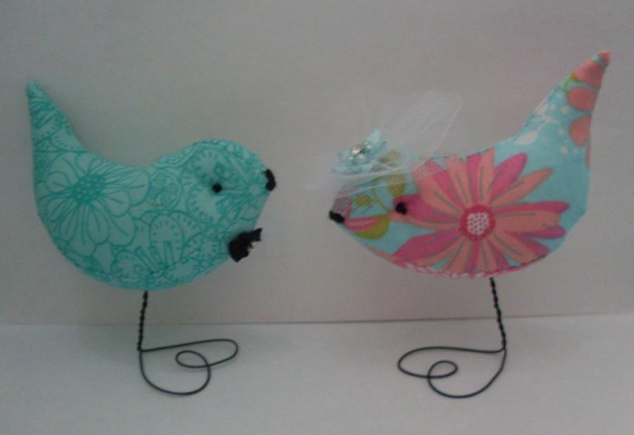 Свадьба - Neon Teal Pink Yellow Pr. Love Birds Wedding Cake ,Baby Showers Decorations Ornaments