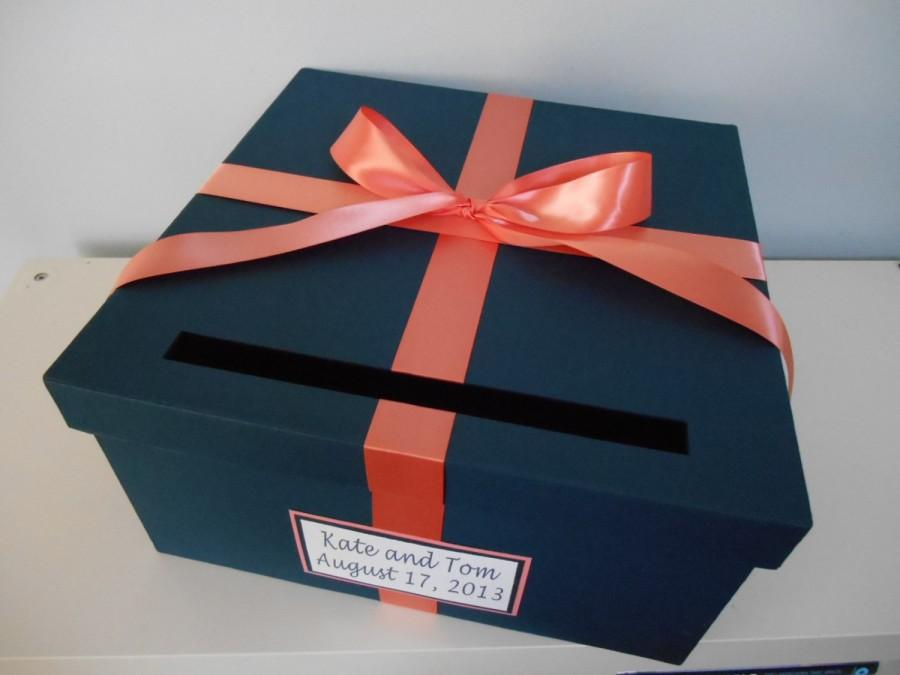 wedding card box navy with coral you can customize colors large 14 inch box with ribbon and tag. Black Bedroom Furniture Sets. Home Design Ideas