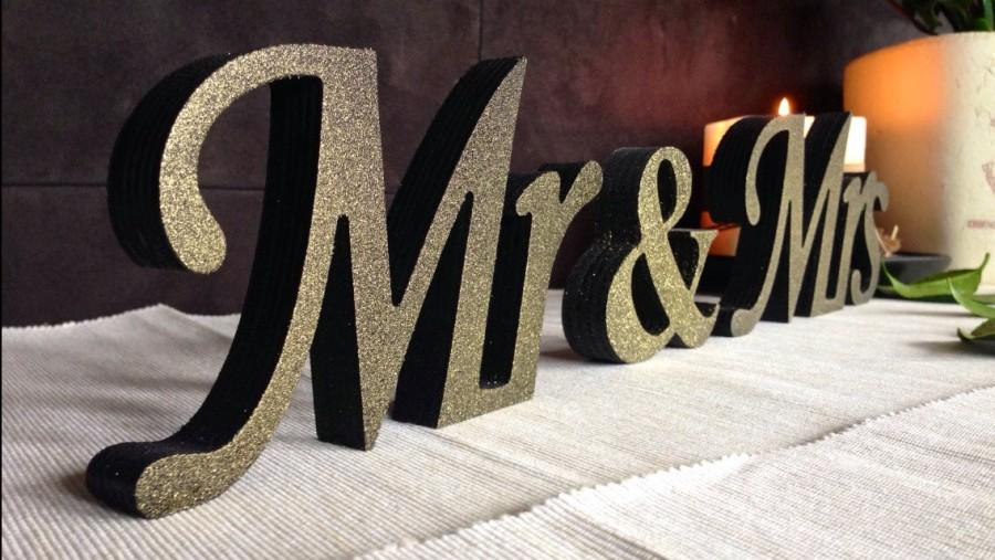 Wooden Black With GOLD Dust Sign Mr And Mrs Wedding Signs Letters For Sweetheart Table SignsWedding Decoration