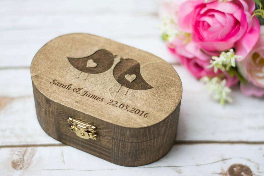 Wedding Ring Box Love Birds Ring Box Rustic Wedding Ring Bearer
