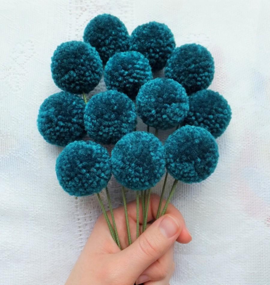 Hochzeit - Teal Yarn Pom Pom Flowers: Set of 12