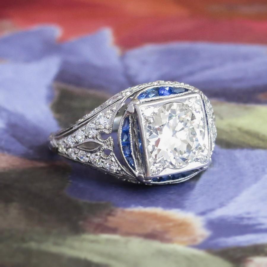 زفاف - Vintage Art Deco 1930's 2.28ct t.w. Old European Cut Diamond & Sapphire Engagement Ring Platinum