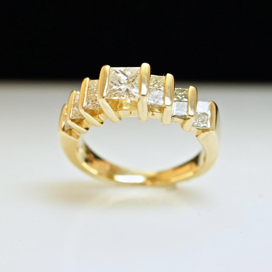 زفاف - Princess Cut Diamond Engagement Ring or Anniversary Band - 14k Yellow Gold