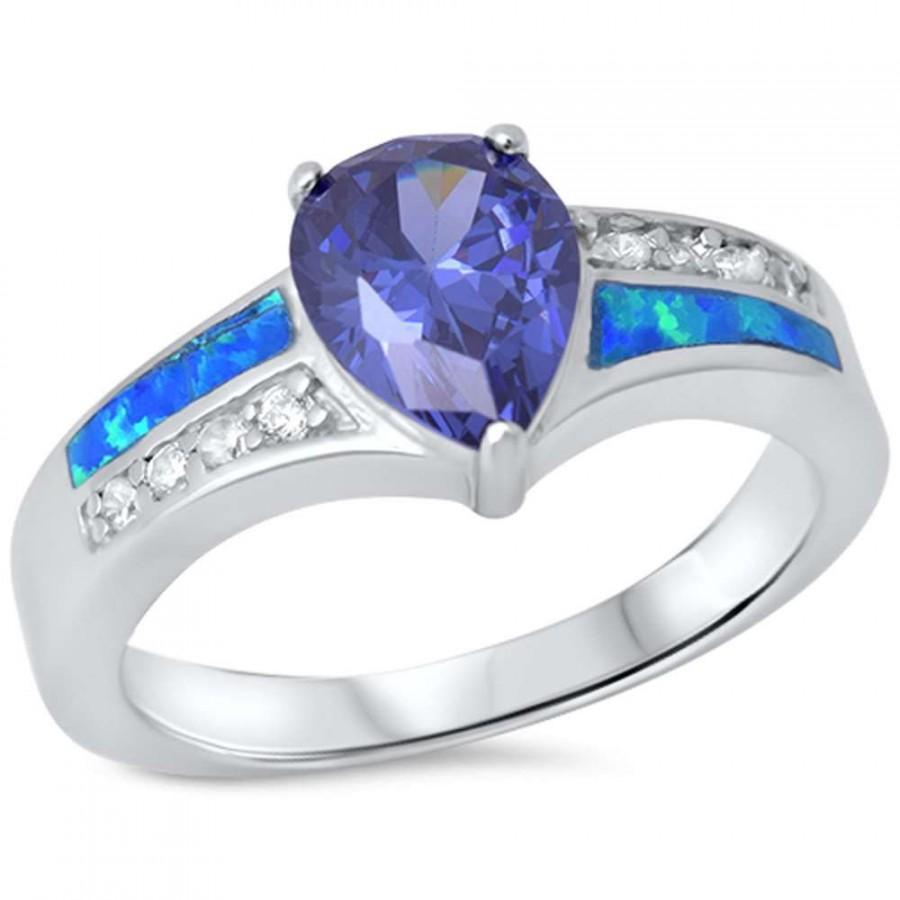 زفاف - Lab Blue Opal Wedding Engagement Anniversary Ring 1.80CT Pear Shape TearDrop Lab Tanzanite Round Diamond White CZ Solid 925 Sterling Silver