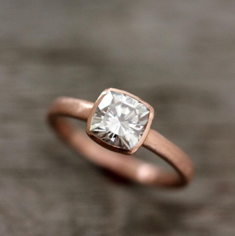Hochzeit - Rose Gold Engagement Ring, Forever Brilliant Moissanite Engagement Ring,  Recycled, Ethical ,non diamond