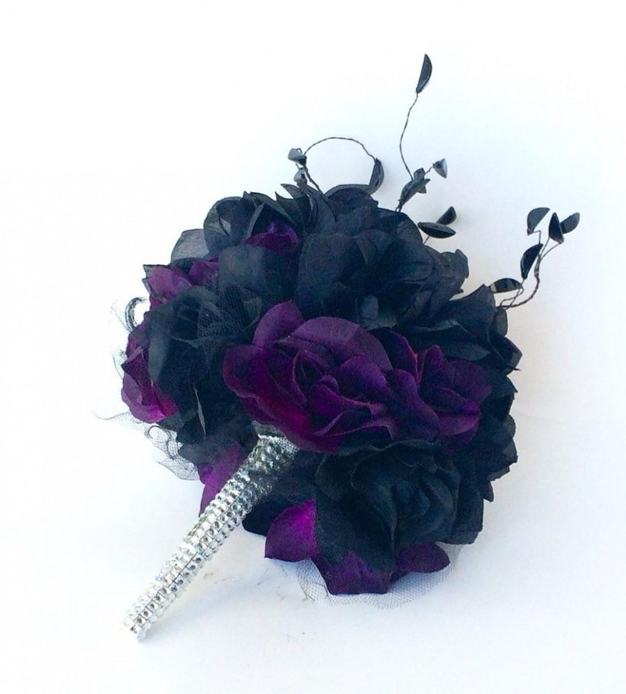 Black Rose Wedding Bouquet, Bride Flower Bouquet, Customizable, Silk ...