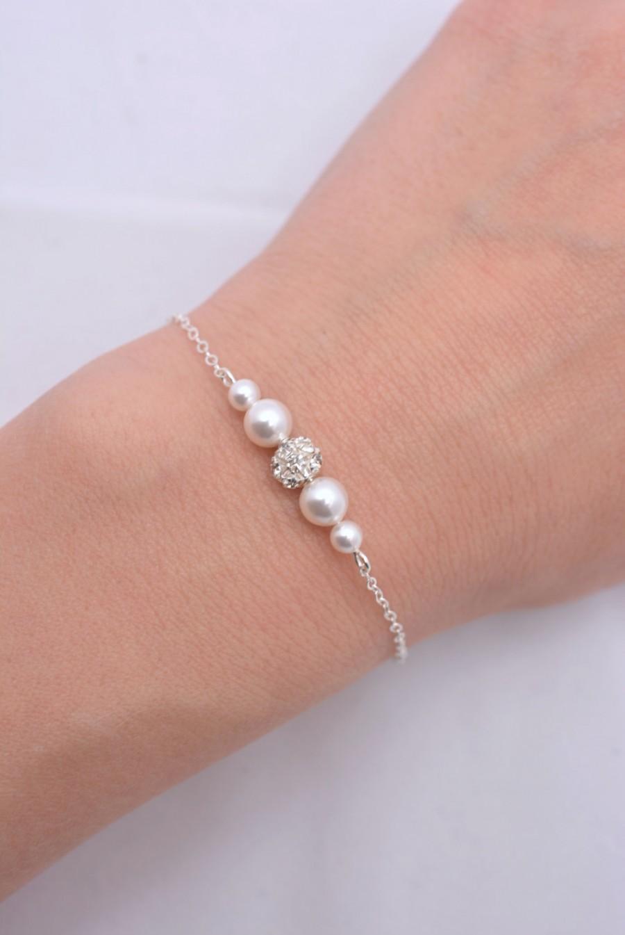 Свадьба - Pearl and Rhinestone Bridal Bracelet, Swarovski Pearl Bridal Bracelet, White Ivory Wedding Bracelet, Floating Pearl Crystal Bracelet 0224