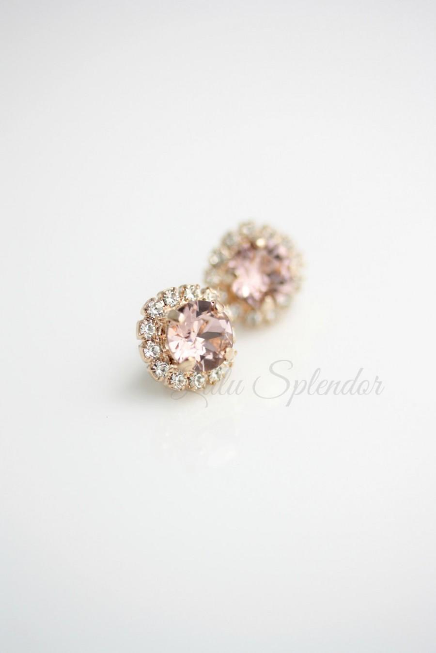 Mariage - Blush Crystal Earrings Rose Gold Stud Earrings Vintage Rose Crystal Bridal Earrings Soft Pink Bridesmaid Stud Earrings STUD