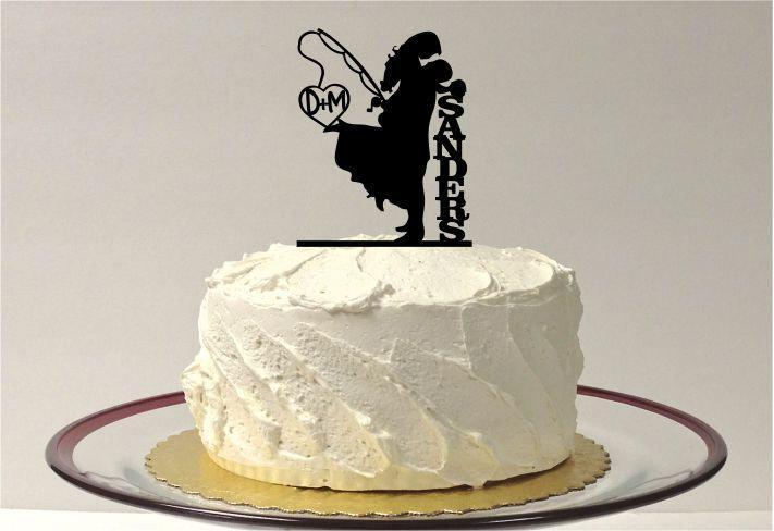 Fishing Wedding Cake Topper Personalized Fishing Themed Wedding Cake Topper