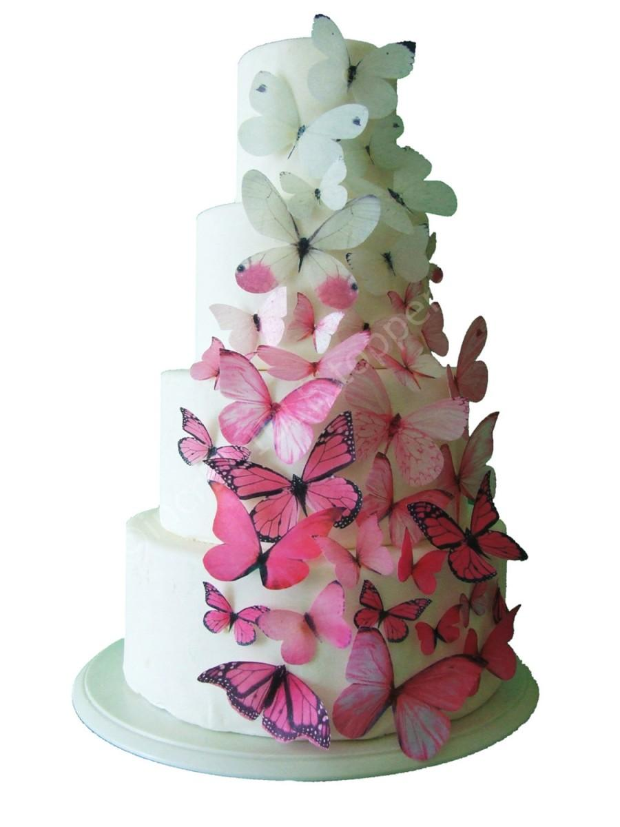 Incredible toppers ombre edible butterflies in pink for How to make edible cake decorations at home