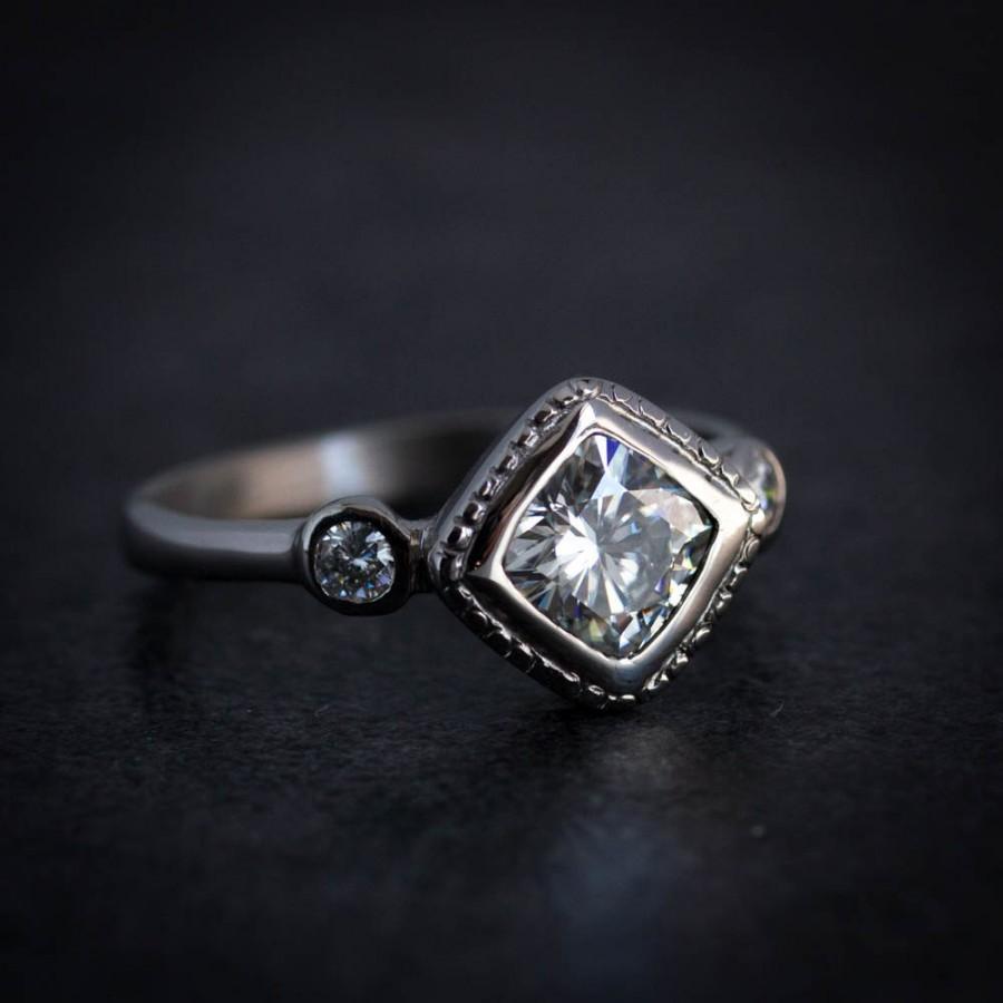 Moissanite Engagement Ring 14k White Gold Diamond Shaped Wedding