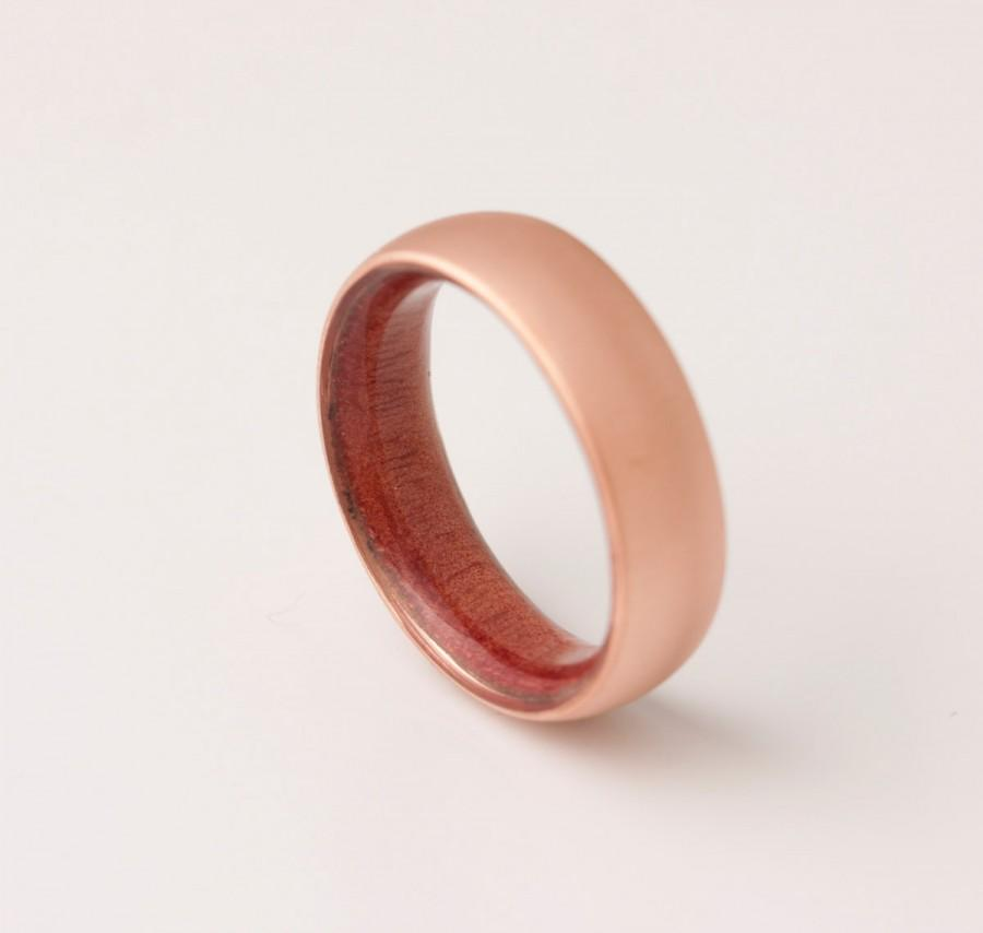 Mariage - Copper Wedding Band // Copper Wood Ring // Red Cedar Ring // Man Ring // mens wood wedding band