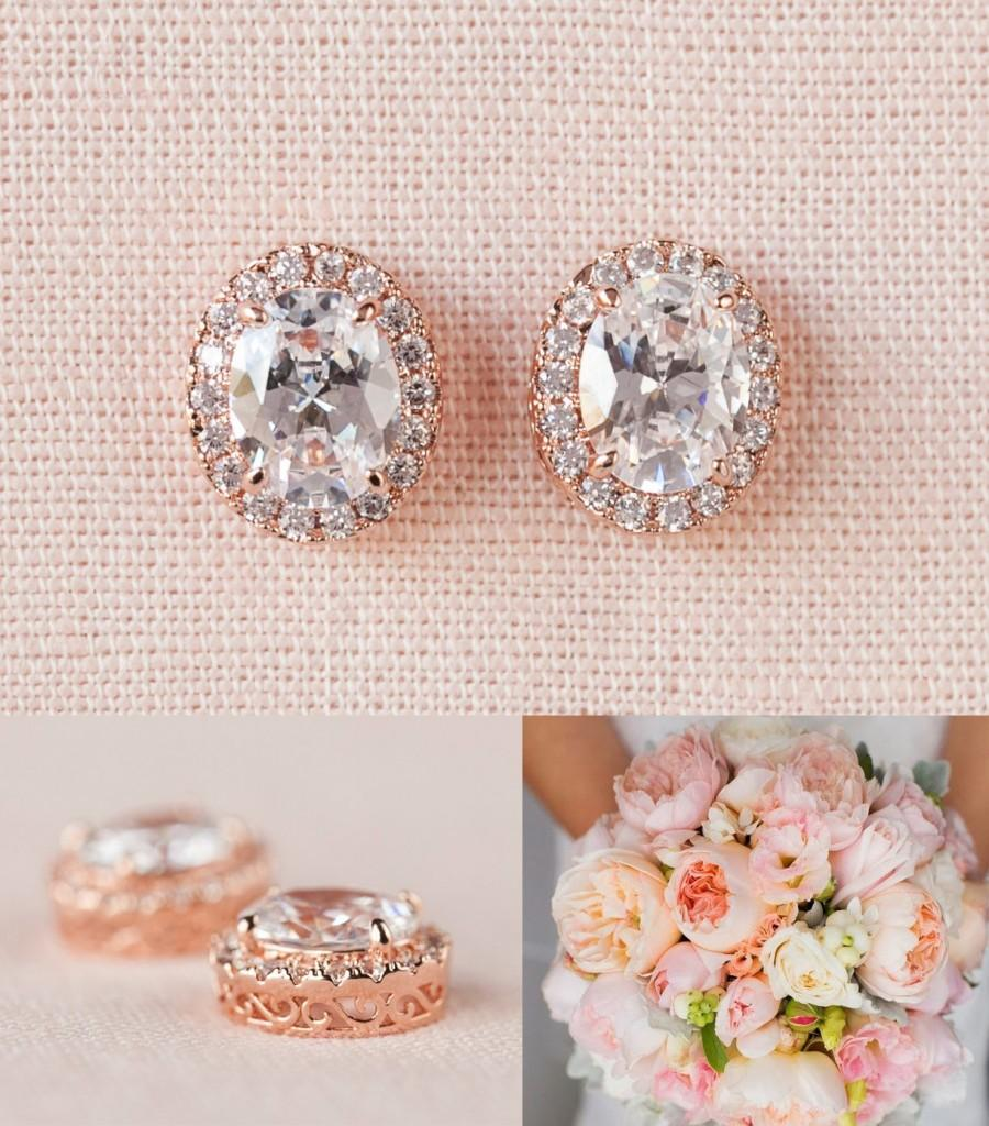 Rose Gold Bridal Earrings Oval Stud Wedding Bridesmaid Jewelry Crystal