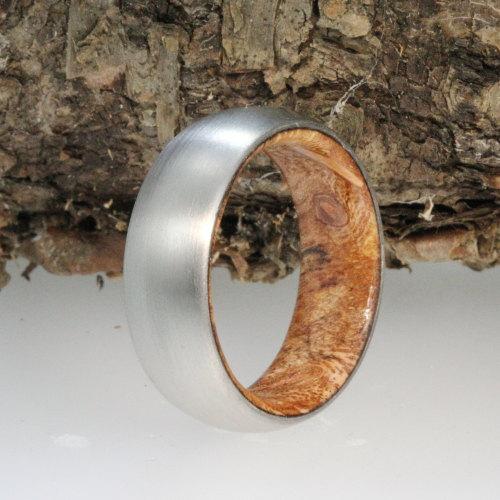 Sindora Wood Ring Brushed Titanium Sleeve Armor Included