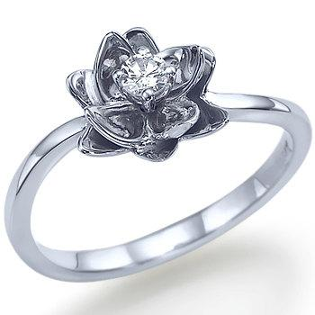 Flower Design Round Shape Diamond Engagement Ring 14k White Gold Or Yellow  Gold Art Deco Diamond Ring